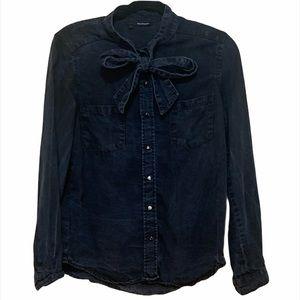 THE KOOPLES Blue Jean Button Up Shirt w/ Neck Tie